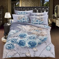 3D белого и синего цвета розы постельных принадлежностей романтический покрывала пододеяльник супер Король Королева двойной размер устано