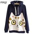 Novo patch versão Coreana HOODIES gato dos desenhos animados acolchoado de Algodão Com Capuz de lã Terno das mulheres camisola