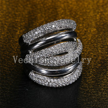 Vecalon 234pcs stone AAAAA Zircon Cz Cross Engagement Wedding ring for Women 14KT White Gold Filled Female Band ring