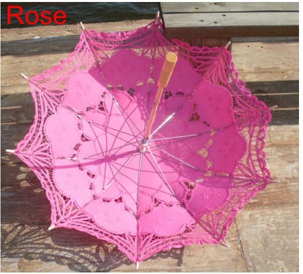 New Lace Umbrella Cotton Embroidery White/Ivory Battenburg Lace Parasol Umbrella Wedding Umbrella Decorations Free Shipping 33