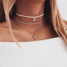f36c65f9a637 Srcoi elegante simulado perla gargantilla collar de múltiples capas de oro  de color cadena de cristal corazón hueco Cruz chokers.