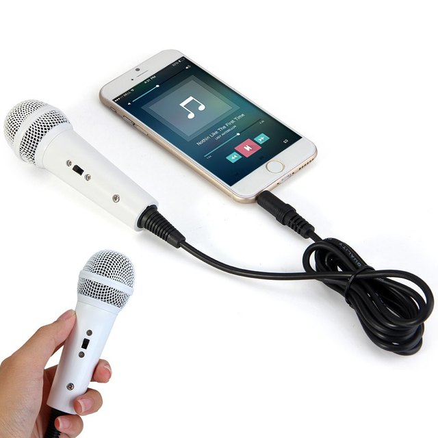 Mini Condenser Wired Karaoke Microphone Mic with 3.5mm Audio Plug for iPhone Smart Phone Chatting Singing Home KTV