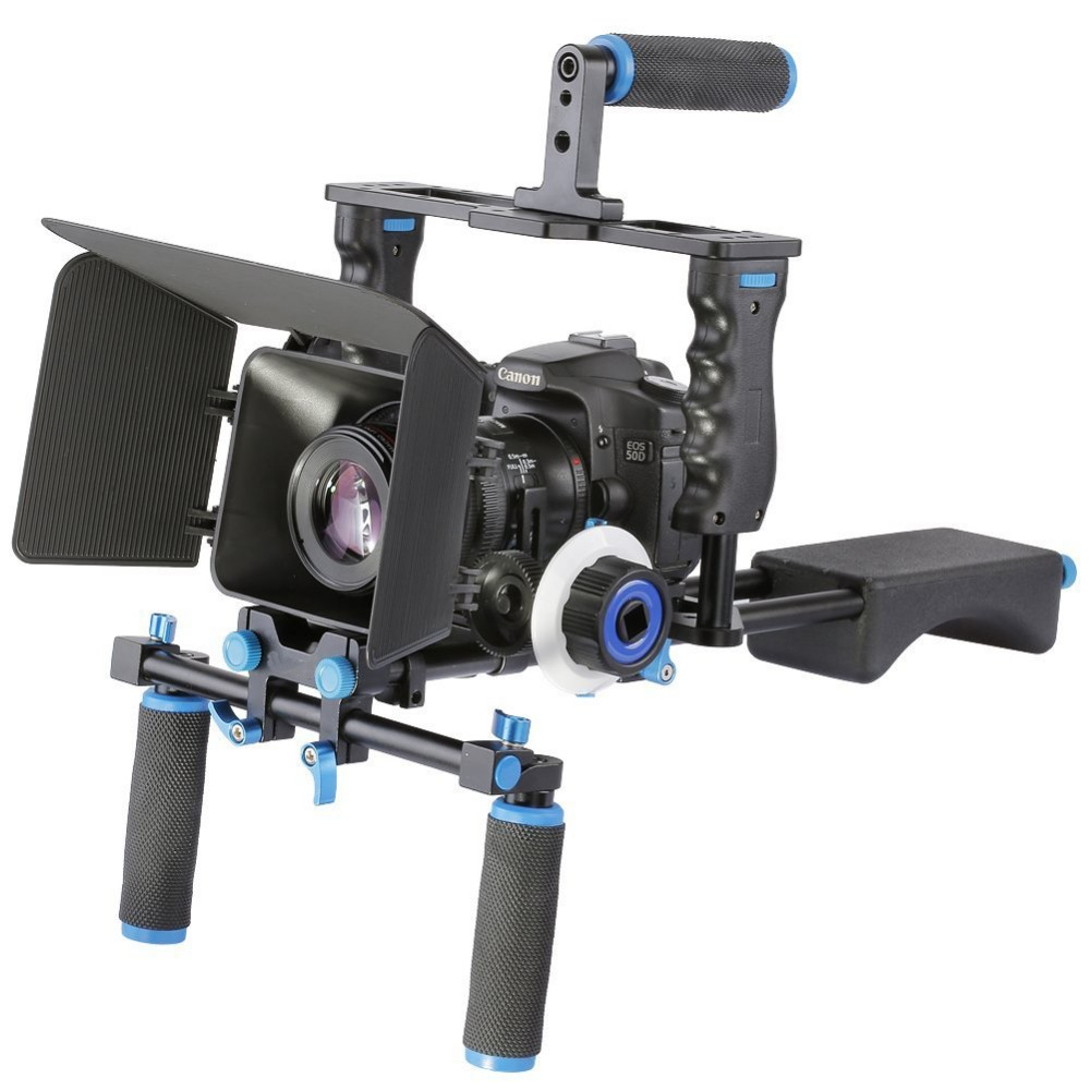 DSLR 4 in 1 Rig Kit Camera Cage+Shoulder Mount+Matte Box+Follow Focus for 5D 6D 7D 60D 70D 5DII 5DIII Camera Video Camcorder dslr rig video stabilizer shoulder mount rig matte box follow focus dslr cage for canon nikon sony dslr camera video camcorder