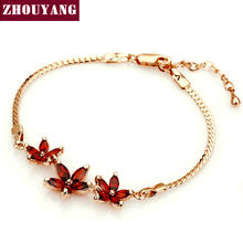 Top Quality ZYH022 Three Charms Red Flower Rose Gold Color Bracelet Austrian Crystals(China)