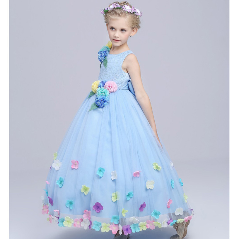 2016 Summer Children Dresses Girls Beautiful Lace Dresses Quality Baby Girls Dress Princess Kids Wedding Dress Girls Clothes 2016 spring winter children baby kids girls stripe princess lace mesh dress girls fall sleeveless dresses kids dresses for girls