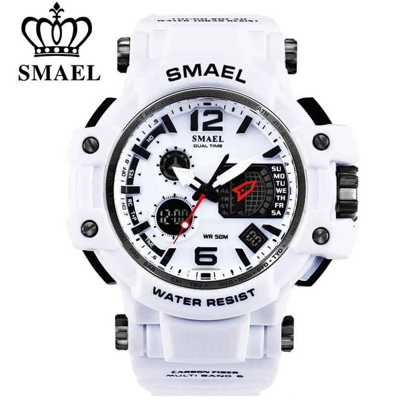 SMAEL Brand Men Quartz Digital Watch Men's Sports Watches S Shock Male Clock Relogios Masculino LED 30M Waterproof Wristwatches