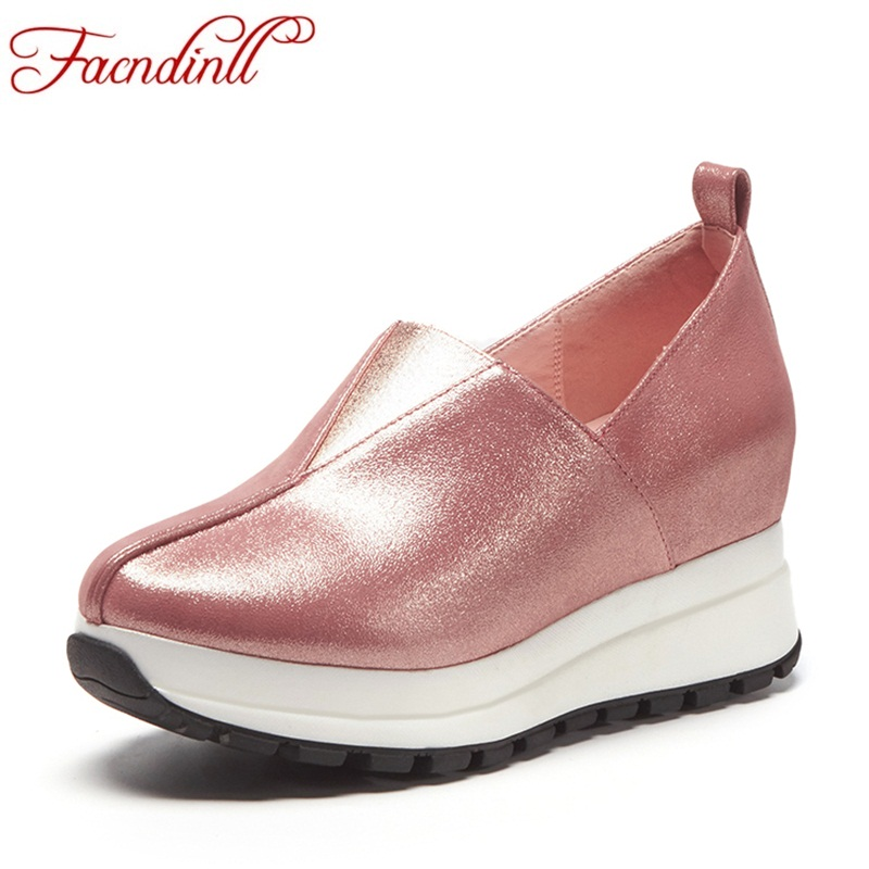 FACNDINLL 2018 new spring women flats shoes genuine leather wedges platform shoes woman round toe silver casual shoes autumn facndinll genuine leather sandals for