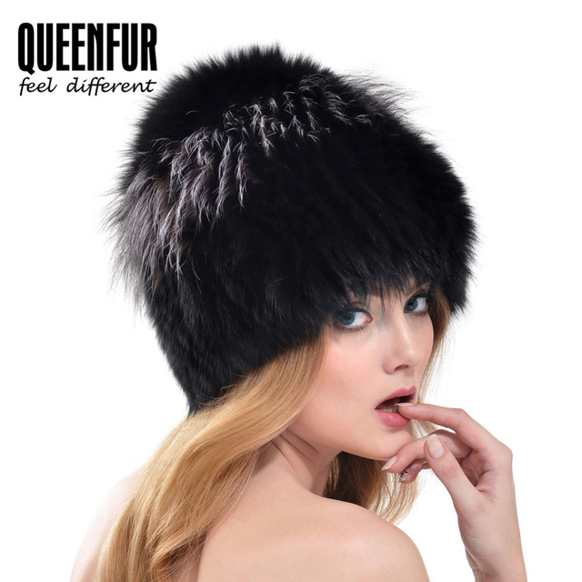 QUEENFUR Good Quality Genuine Fox Fur Knitted Beanies Women Winter Real Fox Fur Hats 2016 New Russian Style Luxury Female Caps