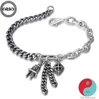 Women punk Real Pure 925 Sterling Silver skull plug charm bracelet chain Tassel bracelets Fine Jewelry