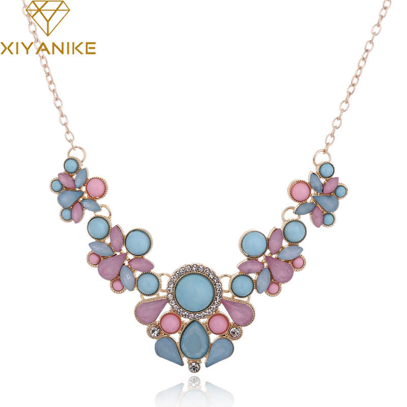 Hot Sweet Elegant Women Bohemian Bib Gem Choker Necklace & Fresh Candy Color Statement Pendant Necklaces moda mujer XY-N155