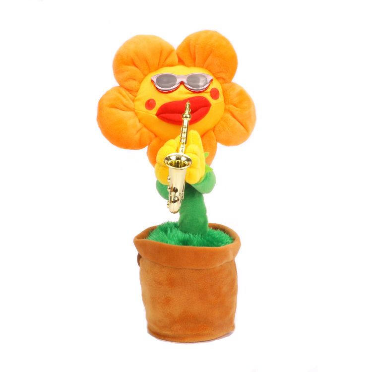 Sun Flower Playing Singing Dancing Electric Plush Potted Dolls Funny Children Toys