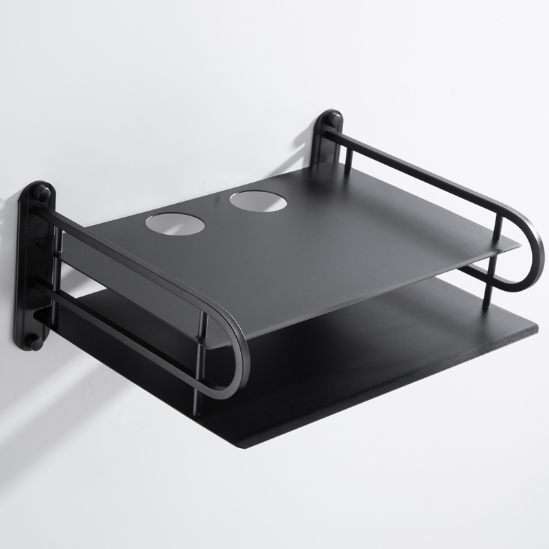 Wholesale Black Wireless Wifi Router Storage Organizer Container Boxes,TV Set Top boxes Wall Mounting Support Rack Shelf Bracket