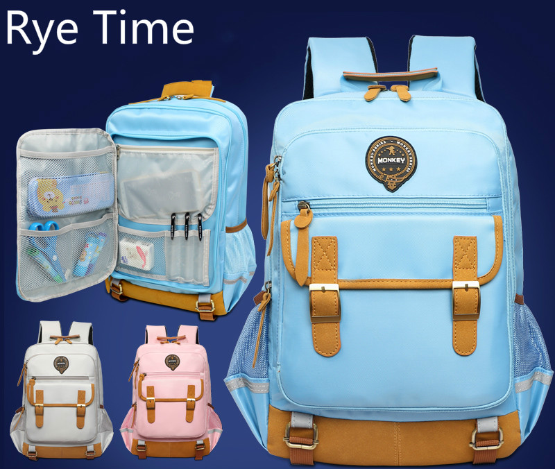 Rye time Schoolbags boys and girls 2-4-6 years of load reduction girls 6-12 years burden reduction junior high children backpack years