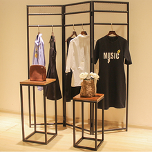 Estante de madera maciza vintage para ropa, estante de exhibición, mesa de agua de isla media, mesa de exhibición de alto nivel, combinación de mesa de exhibición 1115