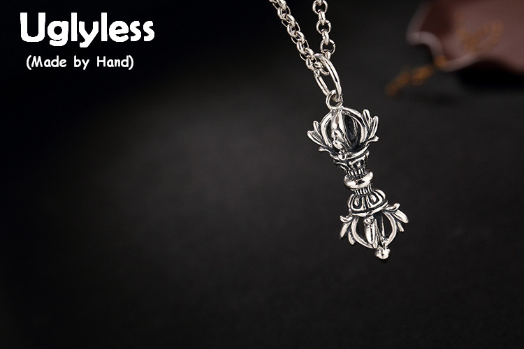 Real 925 Sterling Silver Unisex Buddhism Vajra Pendants without Necklaces Men Co Implement Fine Jewelry Women Bijoux