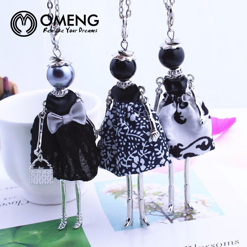 OMENG New Design Lovely Women Black Girl Doll Necklace Cloth Bowknot Dress Princess Pendant Chain Long Necklace Jewelry OXL505