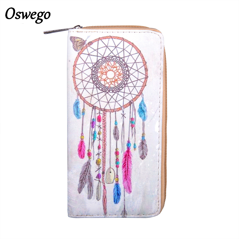 Feather Printing PU Dream Catcher Women Long Wallet Female Long Clutch Zipper Coin Purse Phone Card Holder Portefeuille femme anime natsume yuujinchou women s cartoon wallet female clutch long purse zipper coin pocket card holder portefeuille femme
