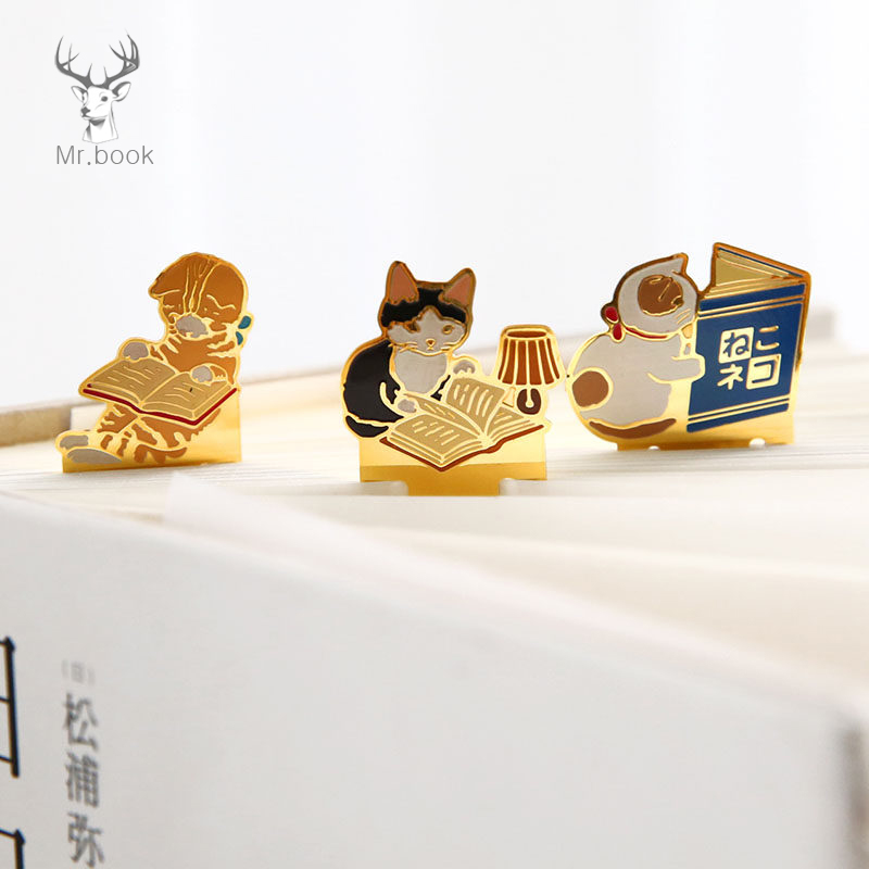 Cute Cats Reading Book Metal Bookmark Cartoon Animals Bookmark Promotional Gift Stationery Film Bookmark School Supplies image