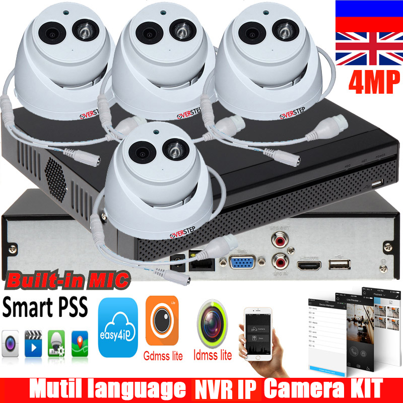 New english version H.264 4MP IP Camera DH-IPC-HDW4431C-A System Security Camera Outdoor 4CH NVR2104HS-S2 camera kit free DHL dhl free shipping in stock new arrival english version ds 2cd2142fwd iws 4mp wdr fixed dome with wifi network camera