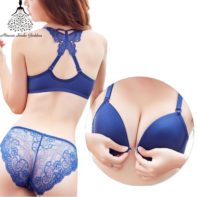 Sexy Push Up Bra Set Front Closure Bra And Panty Set Seamless Lingerie  Brassiere Set For Woman Underwear Butterfly Beauty Back