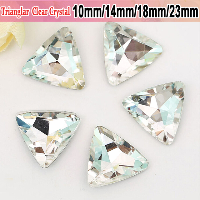 Clear Crystal DIY Wedding Dress and Headpiece Jewelry Accessories 50pcs  Trianglar Pointed bottom Glass Crystals Rhinestones 5f13cb1169e4