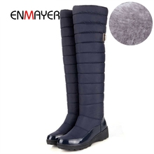 ENMAYER New arrival Russia keep warm snow boots fashion platform fur over the knee winter for women shoes CR959