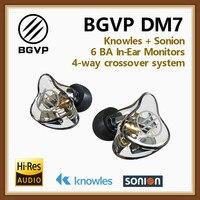 BGVP DM7 6BA Kulak Monitörler HIFI Kulaklık Yeni 2019 Özelleştirmek IEM Knowles Sonion Sürücüleri IEMs Stüdyo DJ Kulakiçi w /MMCX Kablo