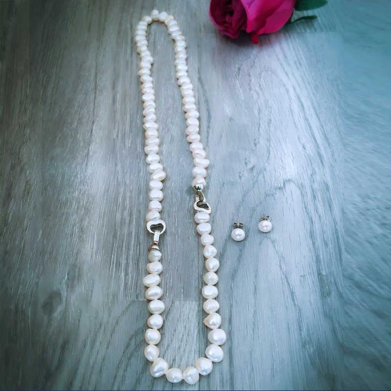 Daimi Baroque Ngọc Trai Bộ 8-9 Mm Nước Ngọt Bộ Trang Sức Ngọc Trai Cho Nữ Trang Sức Dự Tiệc Trái Tim Kẹp Có Thể Tự Làm đến Vòng Cổ Dài