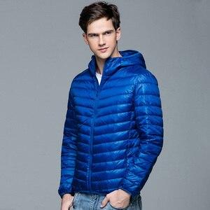 Image 3 - Men Winter Coat Fashion Hooded 90% White Duck Down Jackets Plus Size Ultralight Down Coat Portable Slim Down Parkas 4XL 5XL 6XL