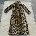 2017 mulheres da cópia do leopardo longo faux fur jacket casaco de inverno, casacos de colarinho turn-down das mulheres, outono inverno roupas quentes