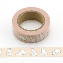 1X cute bear Washi Tape Decorative Adhesive Tape Decora Diy Scrapbooking Sticker Label Stationery animal washi tape new 1x fresh floral washi tape diy decorative scrapbooking masking tape adhesive label sticker tape stationery