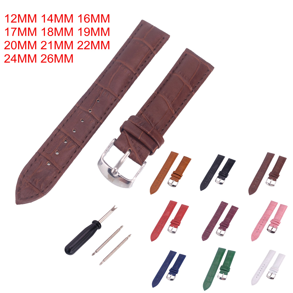 1PCS leather Watches Band Strap 12mm 14mm 16mm 17mm 18mm 19mm 20mm 21mm 22mm 24mm 26mm Women Men Watchbands Watch Belts 9 colors стоимость