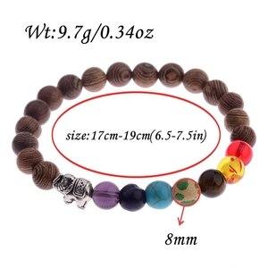 Image 5 - 7 Chakra Prayer Natural Wood Bracelet Men Ethinc Meditation Buddha&Elephant Yoga Bracelet For Women WABJ002