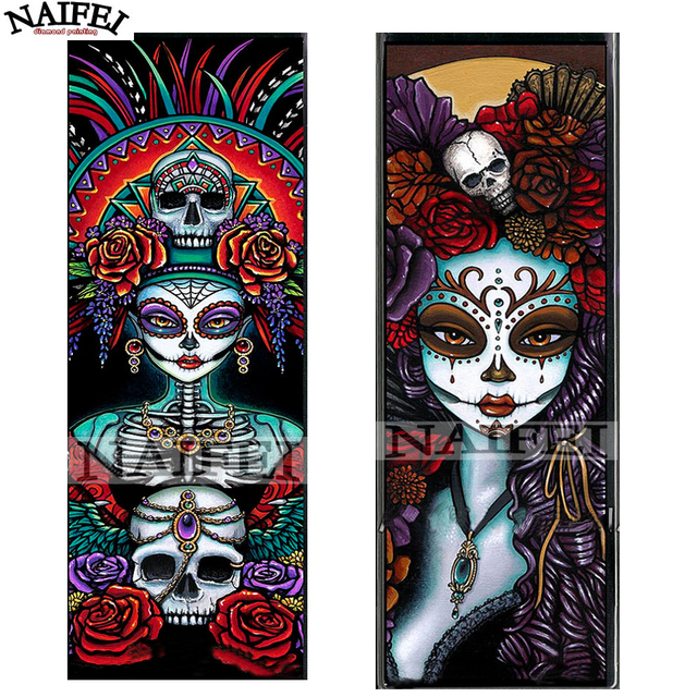 af9006e9ee DIY 5D Diamond Painting Skull and flowers Home Decor Needlework Craft Gift  Full Square 3d Diamond Embroidery Cross Stitch Kits