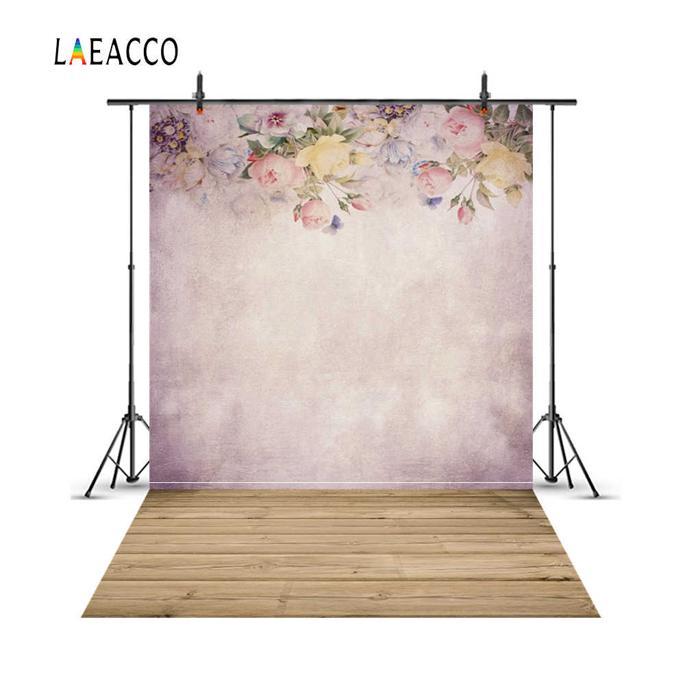Laeacco Flower Oil Painting Wall Wood Floor Portrait Photography Backgrounds Customized Photographic Backdrops For Photo Studio