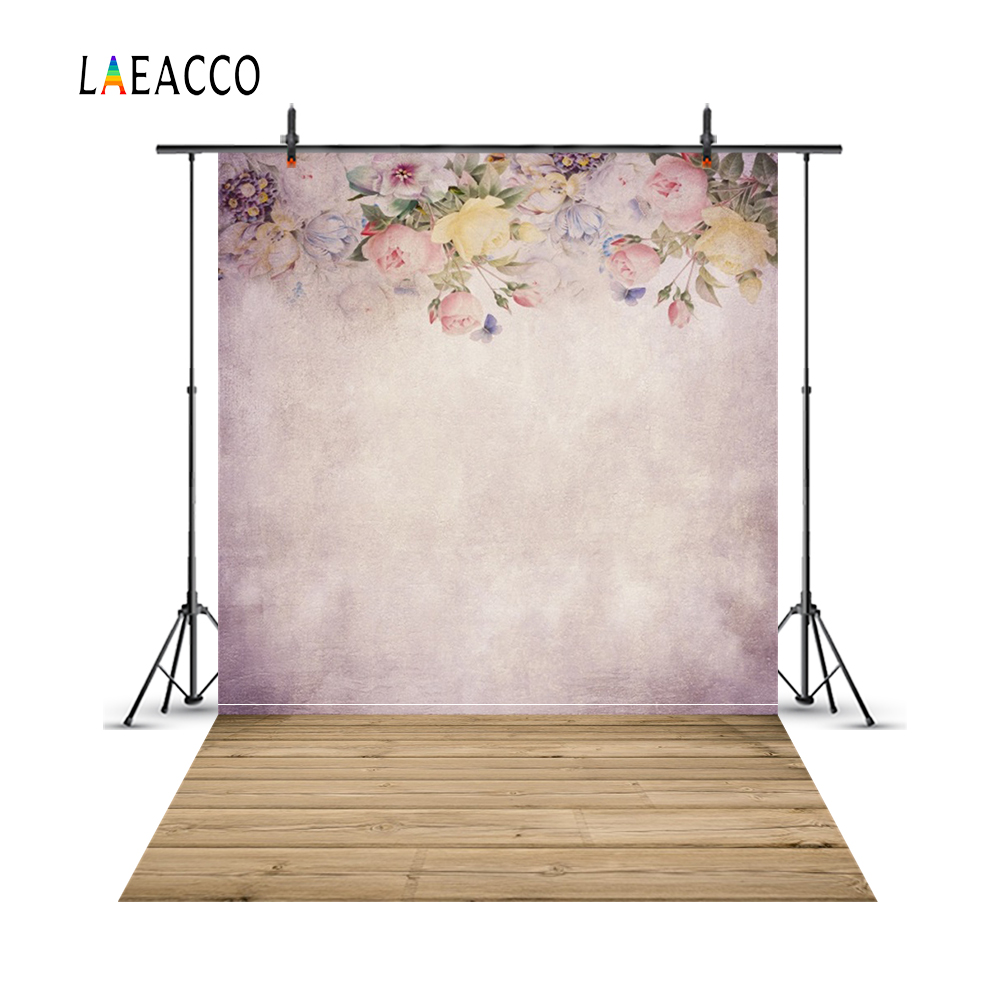 Laeacco ziedu eļļas gleznošana sienas koka grīdas portretu - Kamera un fotoattēls