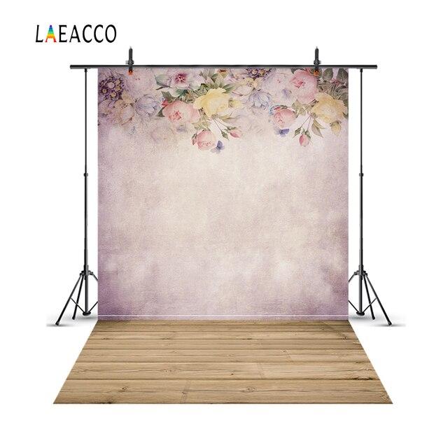 Laeacco Màu Nước Hoa Treo Tường Sàn Gỗ Chụp Ảnh Phông Nền Chụp Ảnh Nền Vintage Bé Chân Dung Photophone Photocall