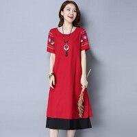 Новых женщин лета Национальный Ветер Повседневная Короткими рукавами Хлопок Белье Dress мода Свободные Плюс Размер Платья Простой Одежды 2L04