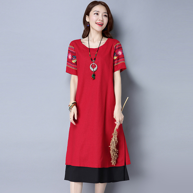 7335b5cf1a1 Summer New Women s National Wind Casual Short sleeves Cotton Linen Dress  fashion Loose Plus Size Dresses