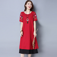 Summer New Women's National Wind Casual Short sleeves Cotton Linen Dress fashion Loose Plus Size Dresses Simple Apparel 2L04