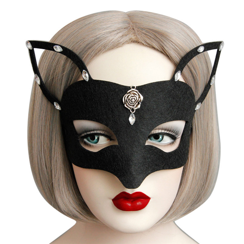 <font><b>2018</b></font> Black Cat Girl Mask <font><b>Sexy</b></font> Woman Lady Girl Masquerade <font><b>Halloween</b></font> Carnival Party Mask Hot Festival Tool Drop Shipping image