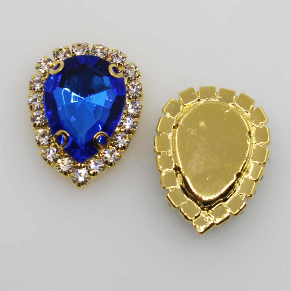 새로운 10pc 20*25mm 워터 드롭 4 홀 황금 diamante 라인 석 버튼 웨딩 공예 장식 diy 봉제 의류 액세서리