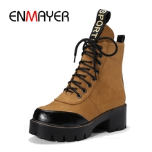 ENMAYER New fashion lace up short boots Big Size 34-43 Russian ladies Winter plush ankle Boots warm Women shoes ZYL119 fashion 2018 russian winter mother
