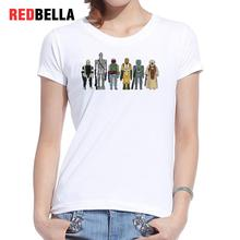 REDBELLA Punk T-shirt Femme Aliens Print Vintage Fashion White Cotton Basic Graphic Tees Rock Hipster Short Sleeve 2017 Clothing