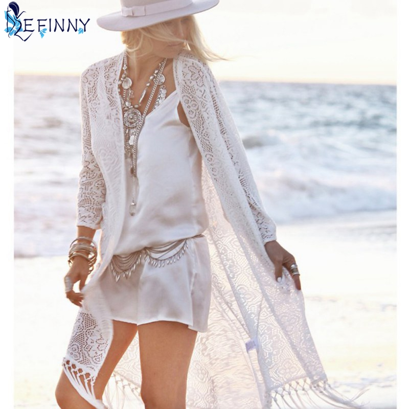 EFINNY boho Women blouse shirt Fringe Lace kimono cardigan White Tassels Beach Cover Up Cape Tops Blouses damen bluze