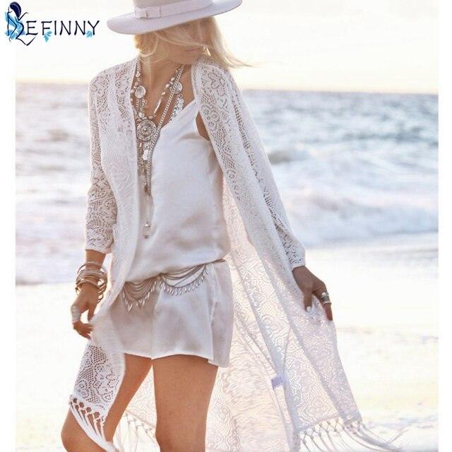 bb83936d2c4d EFINNY boho Women blouse shirt Fringe Lace kimono cardigan White Tassels Beach  Cover Up Cape Tops Blouses damen bluze