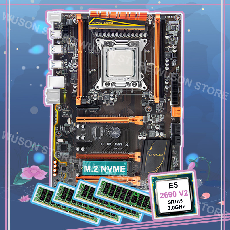 Marque nouveau HUANAN ZHI deluxe remise X79 LGA2011 carte mère avec M.2 NVMe CPU Intel Xeon E5 2690 V2 3.0 ghz RAM 64g (4*16g) RECC