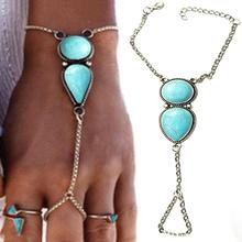 Bohemian Silver-Color Chain Hand Jewelry Blue Stone Beads Slave Bracelet For Women Charms Harness Pulseiras Mujer