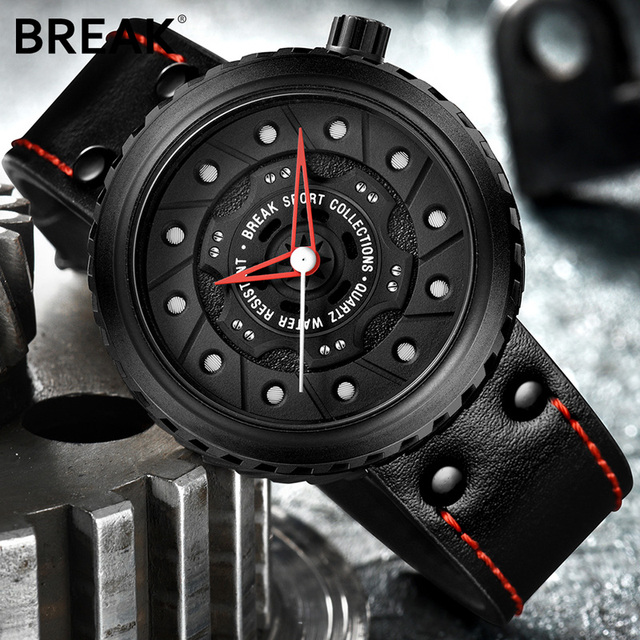 BREAK Top Luxury Men Sports Quartz Watch Rubber Strap Casual Fashion Passion Waterproof Geek Creative Gift Wristwatch for man