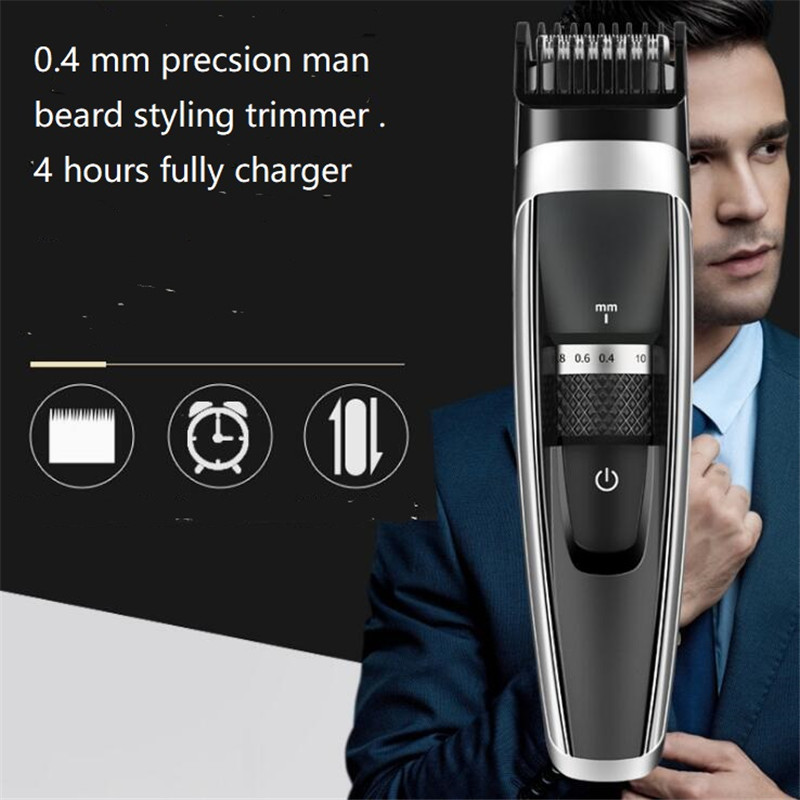 USB rechargeable portable electric 0.4mm precision man grooming beard styling trimmer shaver razor body hair clipper remover cut Борода